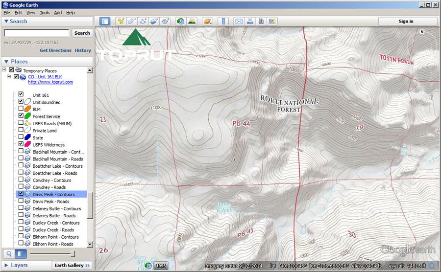 Google Earth Map - Wyoming Elk GMU Unit 11 | Toprut com