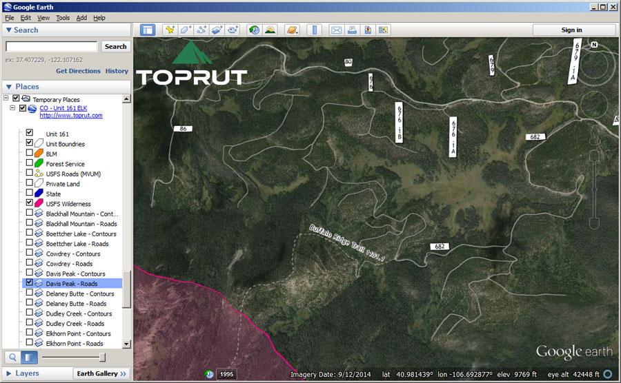 Google Earth Map - Wyoming Elk GMU Unit 59   Toprut.com