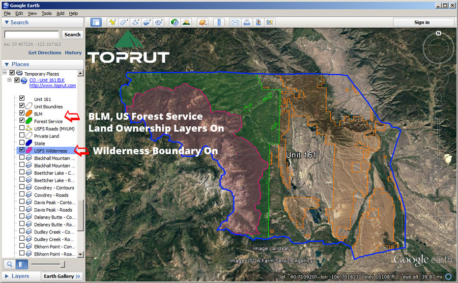 Unit Maps Toprut - Us forest service land in colorado map